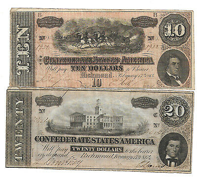 Csa Confederate Note Currency Circulated 1864 Group $10 $20 Crisp Feeling Nice