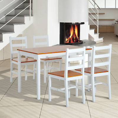 HOMCOM Solid Wooden Dining Table Set 4 Chairs Kitchen Home Funiture
