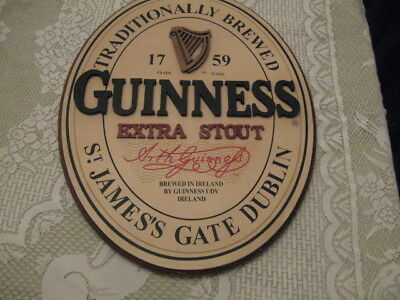 Official GUINNESS Extra Stout Harp Logo 18 x 14 Oval Wooden Beer Sign 3D Wood