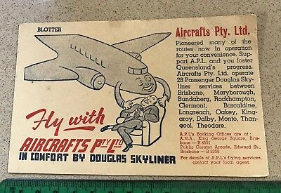 Vintage Advertising Aircrafts Pty Ltd Queensland Douglas Blotting Paper RARE