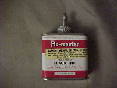 Nice Vintage Flo-Master 2oz. Black Ink tin can with lead top and cap. no rust.