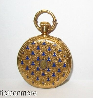 ANTIQUE 18K GOLD DAVID J MAGNIN GENEVA ENAMEL HUNTING PENDANT POCKET WATCH 57g