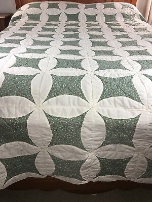 """Vintage Handmade Large Scale Cathedral Window Quilt 106"""" X 87"""""""