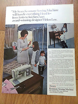 1971 Sears Kenmore Sewing Machine Ad Helen Lerw Coty Fashion Award Designer