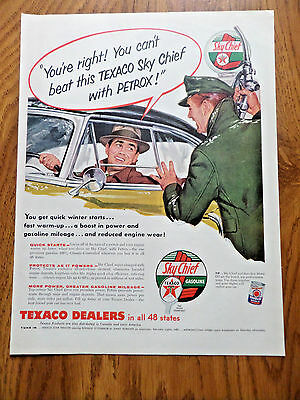 1955 Texaco Gas Oil Ad Service Station Attendant Can't beat Sky chief w/ Petrox