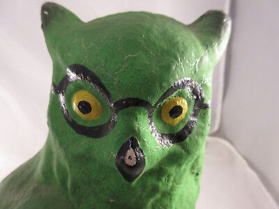 Large Vintage Green Paper Mache Owl with Glasses Halloween
