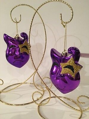 Mardi Gras Ornaments Pair of Two NWT Masks Jesters Smile Frown Faces