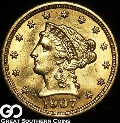 1907 Quarter Eagle, $2.5 Gold Liberty, Sharp Strike, Choice BU++, Free Shipping!