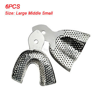 6pcs/Set Dental Stainless Steel Anterior Impression Trays Large/Middle/Small