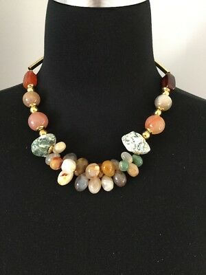 Lovely Natural Stone Chunky Estate Necklace Unique Metal Tube Design