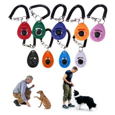 Useful Dog Pet Cat Click Clickers Training Obedience Aid Trainers Wrist Straps