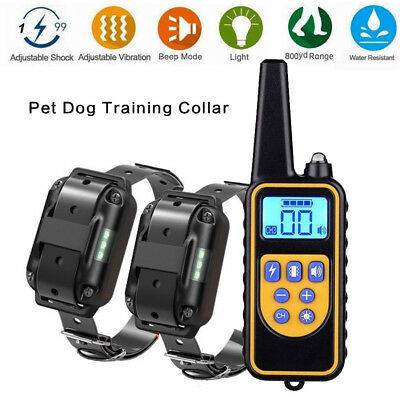 Pet Dog Training Collar Rechargeable Electric Shock LCD Anti-bark R 800M UK