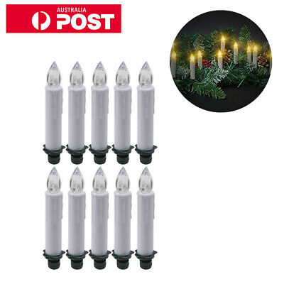 10 x Wireless LED Flameless Christmas Tree Battery Candles Light Remote Control