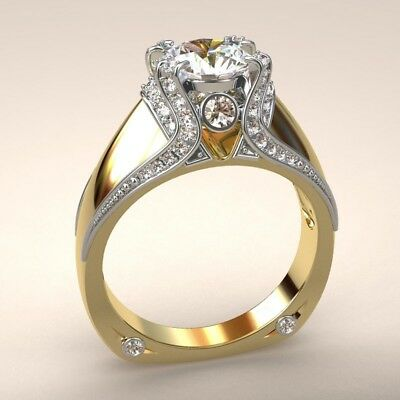 White Topaz 14K Yellow Gold Plated Wedding Engagement Ring Jewelry Size 6-10