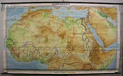Schulwandkarte Nordafrika North Africa 255x154c 1968 vintage wall map chart card