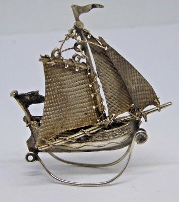 Antique Hallmarked Solid Silver Miniature Ship Model - London 1924