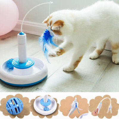 Pet Cat Electronic Feather Teaser Rotate Toy Interactive Ball Cat Wand Toys