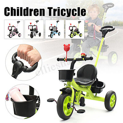 3 Wheels Bicycle Children Kid Basket Tricycle Toddler 4 In1 Trike Bike Stroller