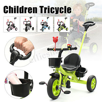 3 Wheels Bicycle Children Push Handle Basket Tricycle Toddler 4In1 Bike Stroller