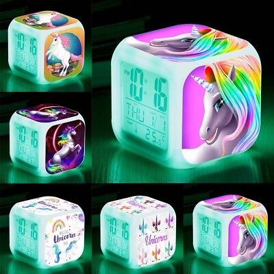Unicorn LED Color Changing Digital Alarm Clock Thermometer Date Time LCD
