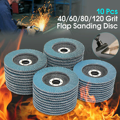 "10 x 125MM 5"" SANDING FLAP DISC 40 60 80 120 GRIT GRINDING ANGLE WHEELS ZIRCONIA"