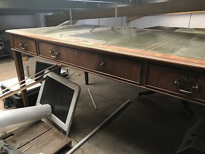 Green Leather Toped Desk