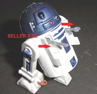 STAR WARS animated CLONE WARS droid R2-D2 figure + back rope boosters stand toy
