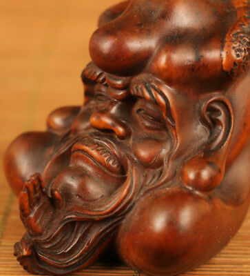Rare chinese Old Bamboo wood Japanese Netsuke Damo Head statue Collectavle