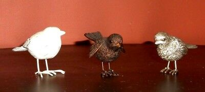 3 Metal Bird Figurine Collection Country Decor Rustic