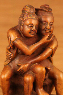Big chinese old Boxwood married life statue figure Collection Japanese Netsuke