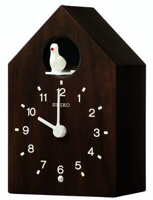 Wooden Seiko Contemporary Cuckoo Clock Electronic Bird Sound QXH070B