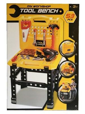 Kids DIY Workshop Foldable Workbench Bench 53 Piece Tool Tools Toy Playset