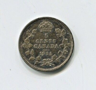 1911 Canadian Five Cent Silver Coin Extra Fine (CTL1118)