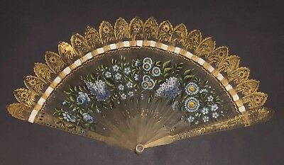 Fine Antique French Carved Horn Gold Gilt Hand Painted Brise Fan
