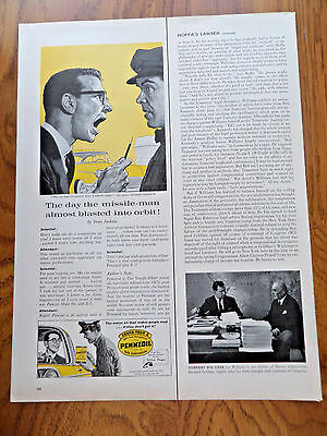 1959 Pennzoil Oil Ad  The Missile-Man