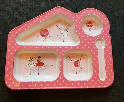 Cath Kidston Ballerina Design Pink Girls Baby Toddler Food Tray Plate