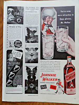 1943 Johnnie Walker Scotch Whiskey Ad  More Attractive in These Glasses