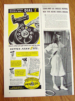 1940 Pennzoil Oil Ad  Before Trouble Hits Dial Z on the Phone