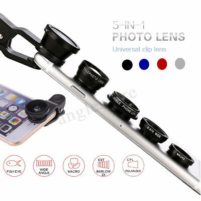 5in1 Universal Phone Camera Lens Clip Kit Fisheye Wide Angle Macro Telephoto CPL