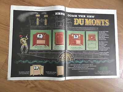 1950 Du Mont Television TV  Ad  Here Come the New Dumons