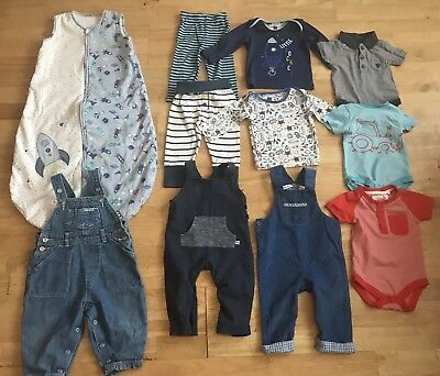 Baby boys bundle 6-9 months mothercare sleeping bag dungarees pyjamas vest 2.5 t
