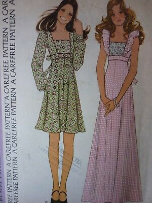 Vintage 1970's Mini & Maxi Dress Or Pinafore Dress Sewing Pattern