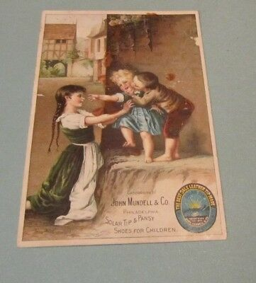 """John Mundell Solar Tip & Pansy Shoes for Children 6.5"""" Victorian Trade Card"""