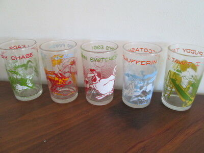 Vintage 1974 Loony Tunes Comic Glass 5 pc Set Welch's Jelly Jam Juice