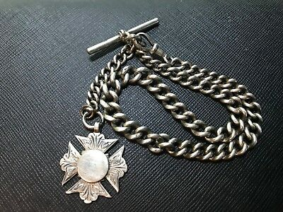 Antique Victorian 1899, Solid Sterling Silver Albert Pocket Watch Chain and Fob