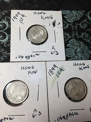 Hong Kong 10 Cents Lot Of 3 Silver Coins