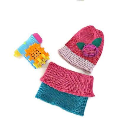 Hat and neck warmer set for child Pink and purple hat with flower by ShulamitKni