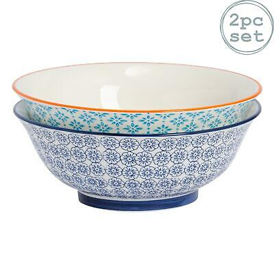 Porcelain Salad Bowl China Fruit Food Serving - Orange / Blue Floral  - 203mm x2