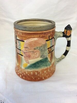 Lancaster and Sandland Pickwick/Micawber toby jug with Silver Plated  rim
