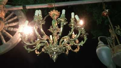 ANTIQUE BRASS Bronze FRENCH EMPIRE 10  ARMS HANGING CHANDELIER 1900s